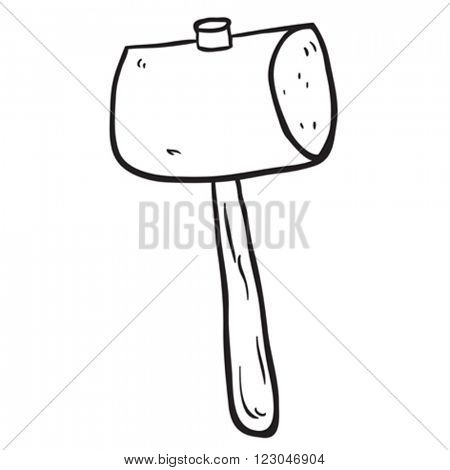 simple black and white freehand drawn cartoon wooden mallet