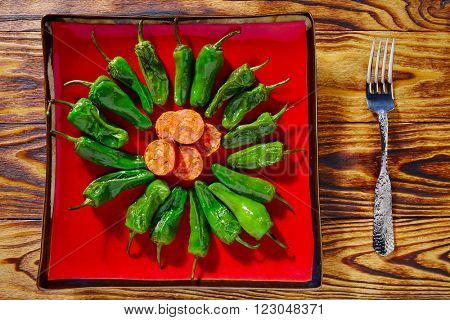 Tapas pimientos del Padron green peppers with sausage