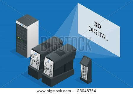Modern projector in cinema. Cinematographic equipment. 3d digital. Flat 3d isometric vector illustration. 3d digital projector