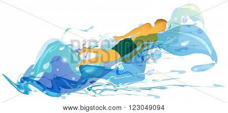 Silhouette of swimmer floating in turbulent waves