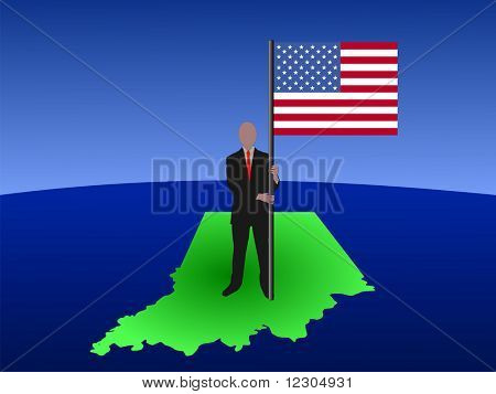 business man standing on map of Indiana with flag JPG