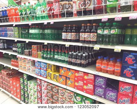 SPENCER WISCONSIN March24 2016 Several brands of soda on display in a modern American grocery store