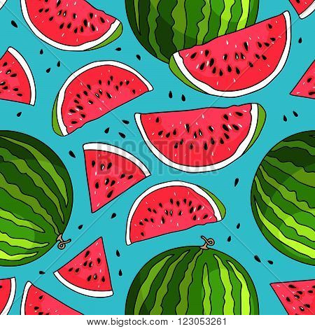 Seamless vector pattern of watermelons on a blue background. Juicy watermelon summer fruit.