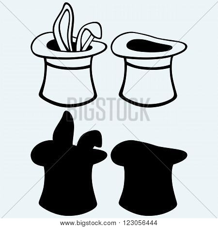 Rabbit in a magician hat. Isolated on blue background. Vector silhouettes