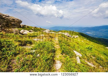 narrow meadow path in grass among white stones on top of mountain range in morning light