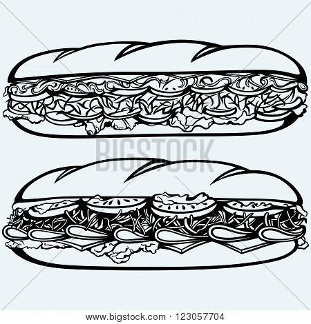Sub Sandwich with sausage, cheese, lettuce and tomato. Isolated on blue background. Vector