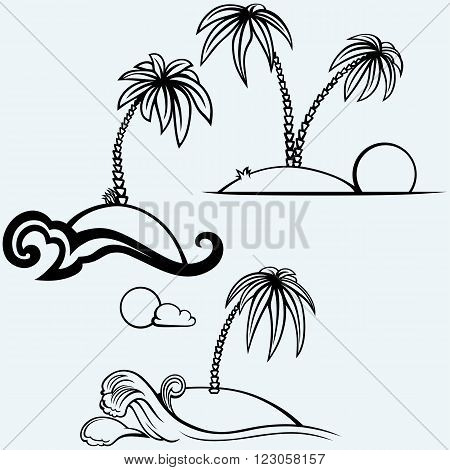 Tropical islands with palm trees. Isolated on blue background. Vector