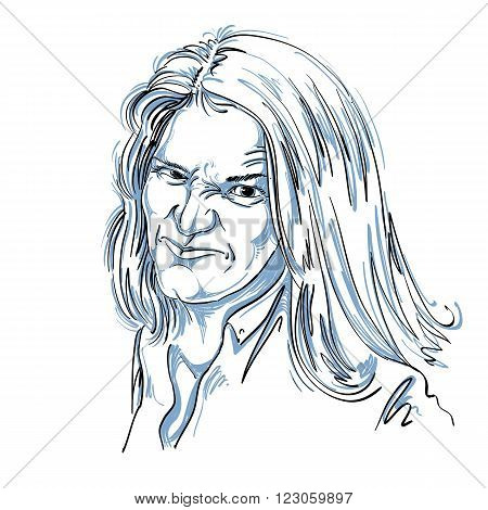 Vector art drawing portrait of nasty girl with wrinkles making ugly grimace. Facial expressions people emotions unpleasant face.