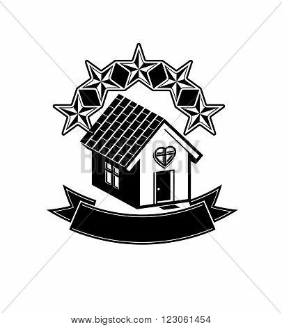 Simple house with five stars and classic ribbon. VIP apartment conceptual icon. Aristocratic building decorative vector design element.
