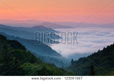 Sunrise at Mills Overlook Smoky Mountain National Park