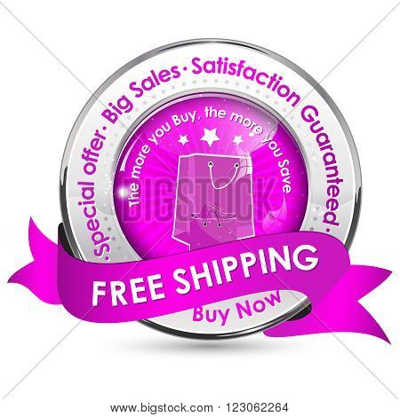 Free Shipping. Special Offer, Big Sales, Satisfaction Guaranteed - shiny glossy icon / label with ribbon.