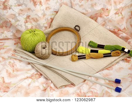 Tools and materials for handamde and handiwork - sewing, embroidery, knitting