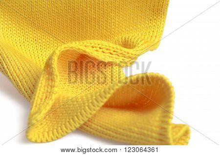 Piece of knitting work - yellow yarn stitches - macro poster
