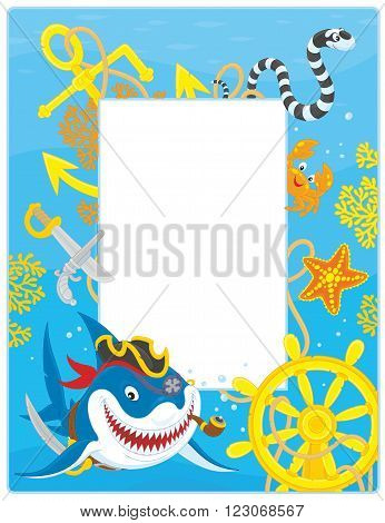 Vector vertical frame border with a pirate shark, a sea snake, a crab, a starfish, a steering wheel and an anchor from a sunken ship