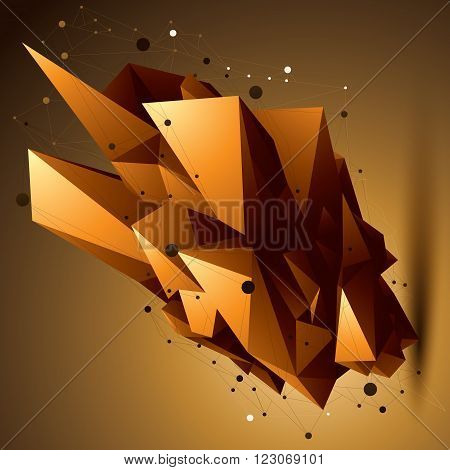 Spatial Technological Golden Shape, Polygonal Bright Wireframe Object.