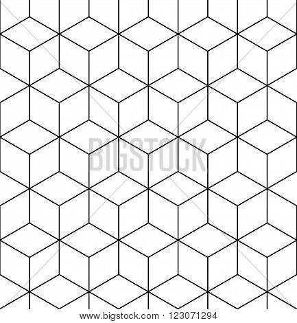 Geometric seamless pattern endless black and white vector regular background. Abstract covering with cubes and squares.