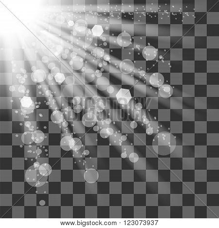 Transparent Sun Light on Checkered Background. Shiny Sunburst of Sunbeams.