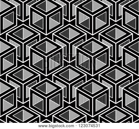 Black And White Illusive Abstract Geometric Seamless 3D Pattern. Vector Stylized Infinite Backdrop,