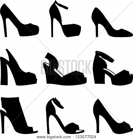 Collection of black shoes silhouettes on white background