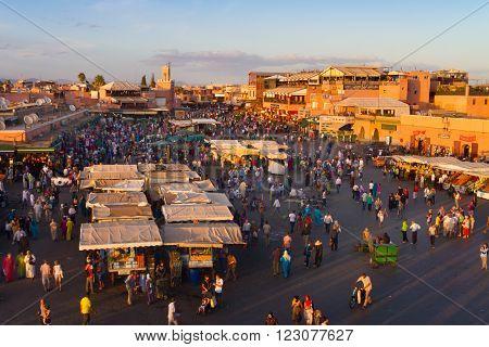 Jamaa el Fna also Jemaa el Fnaa, Djema el Fna or Djemaa el Fnaa is a square and market place in Marrakesh's medina quarter. Marrakesh, Morocco, north Africa.