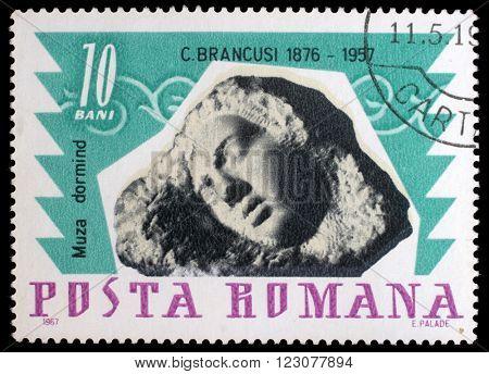 ZAGREB, CROATIA - JULY 19: a stamp printed in Romania shows Sleeping muse by Constantin Brancusi, circa 1967, on July 19, 2012, Zagreb, Croatia