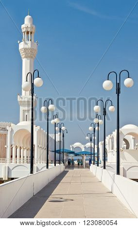Jeddah, Saudi Arabia - November 20, 2008:  Local people in the Sea Mosque on the Corniche area
