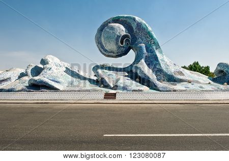 Jeddah, Saudi Arabia - November 20, 2008:  A monument to the waves  in the Corniche area
