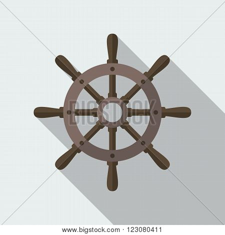 Boat's wheel vector flat icon with long shadow.