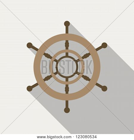 Ship's wheel vector icon in flat style with long shadow.