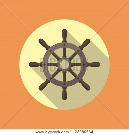 Ship's wheel vector flat icon inside the circle. EPS10 vector illustration.