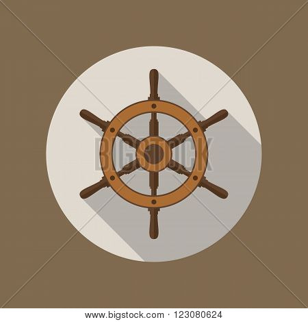 Ship's wheel vector flat icon inside the circle in brown colors. EPS10 vector illustration.