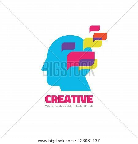 Manage vector logo concept illustration. Creative idea logo. Human head logo icon. Learning logo. Education logo sign. Thinking logo sign. Brain logo sign. Imagination logo design. Management logo.