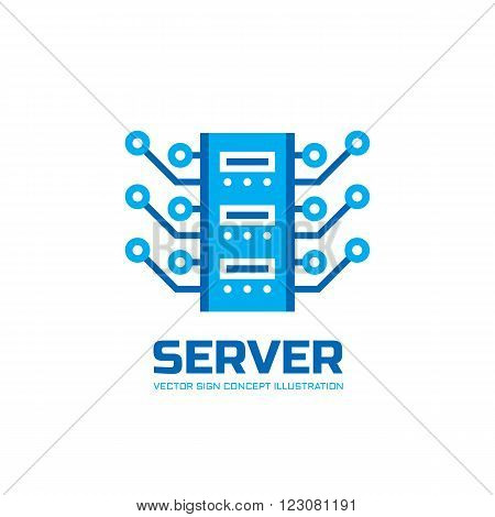 Server - vector logo concept illustration. Database server logo icon. Tech logo. Technology logo sign. Network logo sign. Internet logo sign. Web logo sign. Vector logo template.