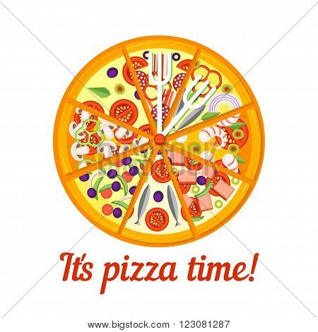 Pizza Icon isolated on a white background. Pizza slice. Pizza Icon in a flat style. Pizza Icon of different pieces. Pizza with cheese tomatoes basil shrimp anchovies and mushrooms. Vector illustration.