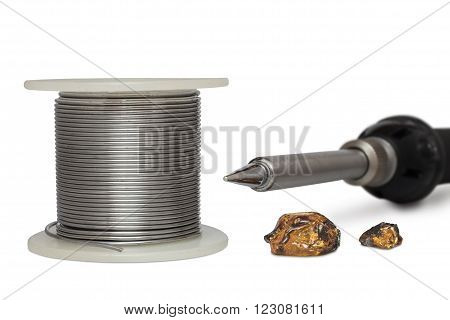 Tool kit for soldering. Electric soldering iron solder and rosin isolated on white background.