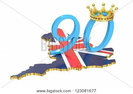 UK Queen's Anniversary concept 3D rendering on white