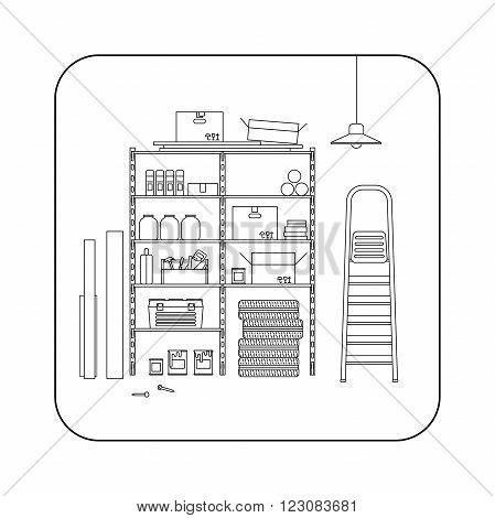 Storeroom line interior with metal storage. Vector thin illustration of garage or storeroom.
