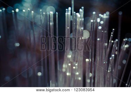 Fiber optic cables, fibre connection, telecomunications concept.
