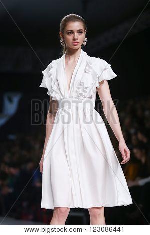 ZAGREB, CROATIA - MARCH 17, 2016: Model wearing clothes designed by Aman on the Bipa Fashion.hr fashion show in Zagreb, Croatia. Aman is fashion designer Martina Budek.