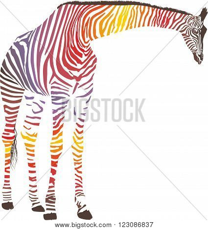 Illustration Giraffe in the Zebra camouflage skin