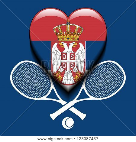 Illustration Serbian flag in heart and tennis rackets as a symbol of Serbian tennis.