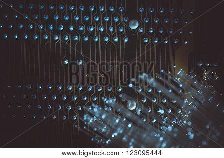 Fiber optics cables, fibre connections, telecomunications concept.