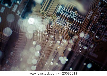 Optics. Fiber optic cables, fibre connection, telecomunications concept.