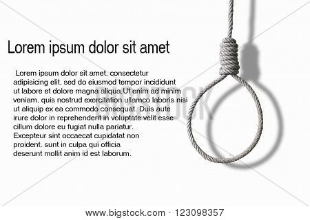 loop of rope and shadow for hanging on white background , concept of suicide and depression,