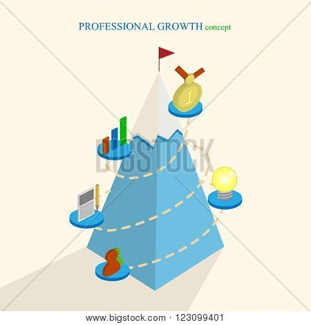 Professional growth concept isometric vector color illlustration