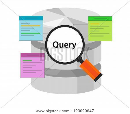 database query data code select table symbol vector illustration concept flat
