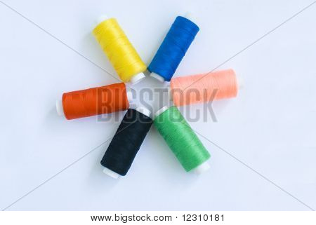 many-coloured mimefil on white background
