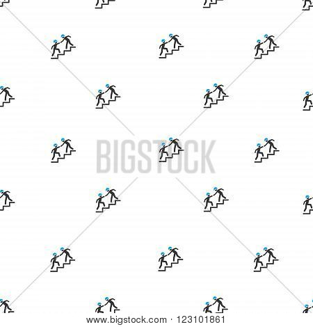 Workers Help vector seamless repeatable pattern. Style is flat blue and dark gray workers help symbols on a white background.