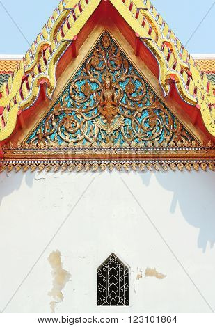 Gold Of Gable Apex Architecture In Thailand Temple