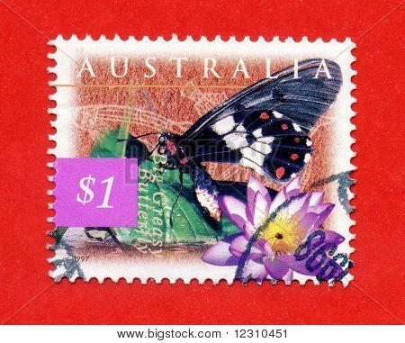 Australia - Circa 1997: Stamp Printed By Australia, Shows Butterfly Sword Grass Blue, Circa 1997
